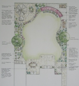 Crow Furlong, Hitchin, Hertfordshire, back garden design.